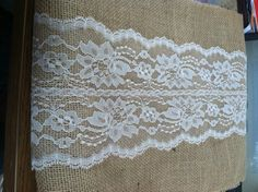 burlap runners with lace | Burlap & Lace Table Runner with a Variety of Lace Color Options. Great ...