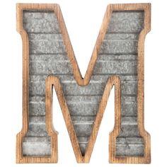 Wood & Galvanized Metal Letter - M