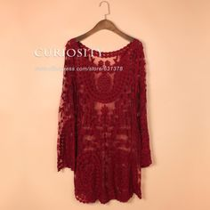 Commemorative Bell Sleeve Dress Casual femininos Crochet Floral Lace embroidery dresses Sheer Boho People Style Women Magenta in Women dress Casual dress Lace dress Beach dress   Note: This item is without lining dress. aus Kleider auf AliExpress.com | Alibaba Group
