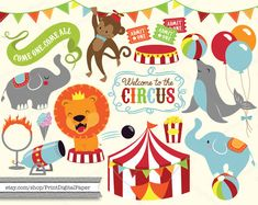 Cute Baby Circus Digital Clip Art Download illutrated graphic clipart seal lion circus tent cannon bunting flags banner elephant balloons