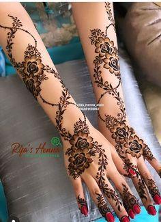 Henna Flower Designs, Modern Henna Designs, Henna Tattoo Designs Simple, Mehndi Designs Feet, Latest Bridal Mehndi Designs, Beginner Henna Designs, Henna Art Designs, Mehndi Design Pictures, Dulhan Mehndi Designs