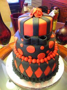 Three Tier Black and Red Birthday Cake