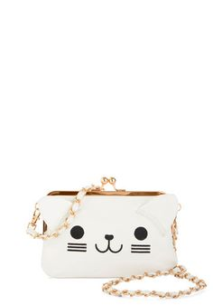Lots of Purr-sonality Bag by Kling - White, Black, Print with Animals, Chain, Cats, Good, White, Faux Leather, Party, Kawaii, Critters, Gals...