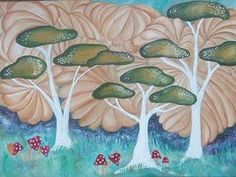 Mushrooms Paintings - Edge of the  Enchanted Forest by Gail Peltomaa