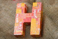 35 x 46 x 125 Orange Decoupage Wooden Block by crazyaboutgreen, $12.00