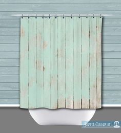 Woodgrain Shower Curtain Painted Wood Shabby Chic Mint Washed