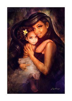 """""""Mother & child portrait commission of Arelis & Katie. Portraitsbysantiago.com  #Customized #Personalized #FineArt #Portrait #art"""