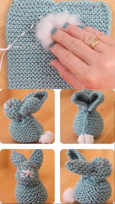 So sweet! Knit a Bunny from a Square from my easy knitting pattern! From just a knitted square, you will enjoy making a stuffed softie animal shape of a Bunny. These little cuties are quick knit gift favorites for beginning knitters and one of my most popular projects. #StudioKnit #knittingvideo Animal Knitting Patterns, Easter Crochet Patterns, Crochet Crafts, Yarn Crafts, Cowl Patterns, Easy Crochet, Knitted Bunnies, Crochet Bunny, Crochet Dolls