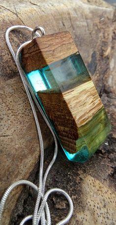 Hout met turqoise groene epoxy Hars/hout door anneliesjewels