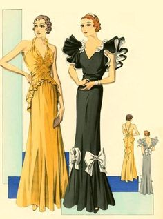 1930's Evening Gowns - love the black & white one