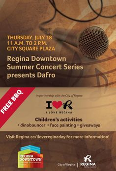 With the cancellation on Saturday, July 6, we still wanted to celebrate our love for Regina so have rescheduled some of the event activities to Thursday, July 18. The following activities will take place from 11 a.m. to 2 p.m. #iloveregina #yqr #cityofregina www.Regina.ca