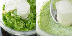 A two photo side-by-side collage from above the food processor. The photo on the left shows dark green cilantro leaves inside the processor's bowl. The second is of the completed dressing in the food processor.