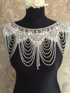 LOVE FOREVER Crystal and clear bead Bolero - Wedding Dress Bolero, Wedding Dress Accessories wedding shoulder chain with crystals beads