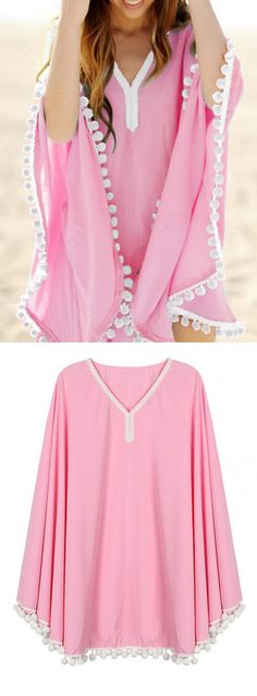 Light Pink Oversize Pom Pom Chiffon Poncho Cover Up Dress - See more at: http://www.choies.com/product/light-pink-oversize-pom-pom-chiffon-poncho-cover-up-dress_p46747?utm_source=pinterest&utm_medium=cpc&utm_campaign=dress%20top#sthash.euDNxrFb.dpuf