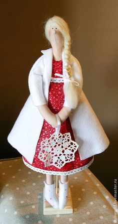 Buy Girl Winter - bright red, white, handmade doll, a doll Tilde