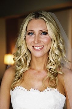 Makeup for fair skin. Blue eyes, blonde hair. Bridal Makeup is soft and accentuates her beautiful features.