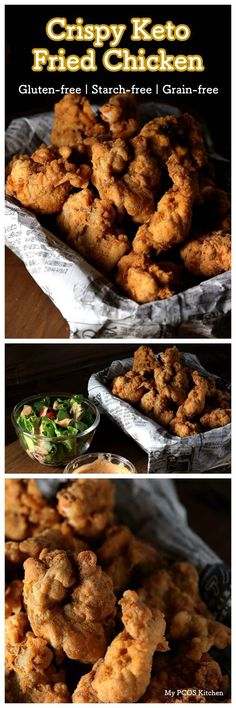 My PCOS Kitchen - Crispy Keto Fried Chicken - These low carb boneless chicken pieces are the perfect gluten-free treat! No need for pork rinds, almond flour or parmesan when you got these bad boys! via /mypcoskitchen/