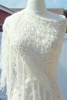 WHITE SUMMER HANDMADE WOMAN KNIT SHAWL  PERUVIAN 100% PIMA COTTON