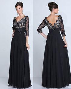 Por encargo de encaje negro v-cuello del vestido de noche de la gasa larga más tamaño madre de la novia vestidos noche 2016