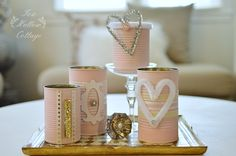 Shabby Pink Painted Tin Cans: a repurposed craft