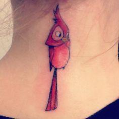 Disney Tattoo: The Cardinal from Sleeping Beauty.   Awesome!  Combo Grandma/Disney-Love tat!