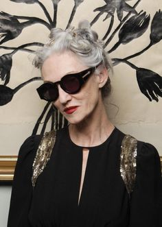 Karen Walker's new eyewear look book features Advanced Style ladies Ilona Royce Smithkin, Linda Rodin,  Joyce Carpati, and Lyn Dell, and it's pretty much the best campaign ever.  We sat down with  Royce Smithkin and Rodin, who sat front row at Walker's show yesterday, to get the scoop on how they became models, and what they thought of Walker's latest collection.
