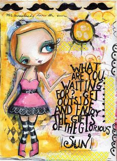 Big eyed Quirky Girl Print Inspirational by pinkglitterfae on Etsy, $15.00