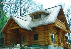 Stained Cottage Roof on Log Home