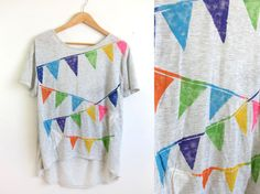 Triangle Bunting Banner HAND STENCILED Deep Scoop Back Neck Heather Burnout Tee from Two String Jane
