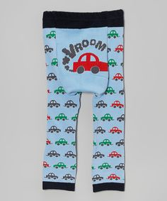 Look what I found on #zulily! Blue 'Vroom' Car Leggings - Infant by Doodle Pants #zulilyfinds