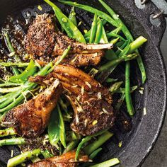 Spicy lamb chops with lemony greens Lamb Chop Recipes, Spicy Recipes, I Love Food, A Food, Fine Beans, Asparagus Beans, Lamb Dishes, Midweek Meals, Chops Recipe