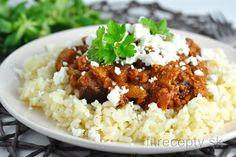 Mleté mäso s baklažánom v paradajkovej omáčke s feta syrom Keep Fit, Tofu, Risotto, Grains, Smoothie, Low Carb, Rice, Tasty, Ethnic Recipes