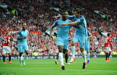 Nolito (right) races to celebrate with Kelechi Ineanacho (centre) after the City…