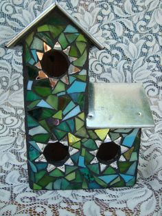 mosaic birdhouse by workglass on Etsy, $45.00