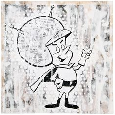 "The first of two mixed media pieces I made for the ""Little Green Men"" show at Suburban Vinyl.  DumDum no.1 - 2 color hand pulled silkscreen, acrylic and emulsion transfer on 12""x12"" wood panel. Signed.  #littlegreenmen #leecifer #mixedmedia #greatgazoo #dumdum #silkscreen #acrylic #paint #woodpanel #emulsiontransfer #picklebaby #alien #flintstones #cartoon"