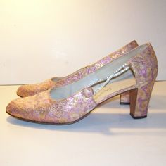 vintage ROGER VIVIER Metallic Tapestry High Heel Party Shoes - purples and golds and copper with rhinestones