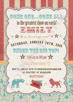 Vintage Circus, Carnival Printable Birthday Invitation, Circus Carnival Personalized Birthday Invite. via Etsy.
