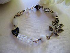 Vintage Glass Bracelet Antique Brass Leaf by BlueArtichokeDesigns, $28.00