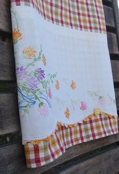 Tea Towel Up Cycled Vintage Pillow Case & by TwoGirlsLaughing