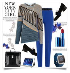 """New York City Girl"" by helenaymangual ❤ liked on Polyvore featuring H&M, 3.1 Phillip Lim, Roland Mouret, Ann Demeulemeester, Jonathan Saunders, Salvatore Ferragamo, Alinka, Lipstick Queen, M-Edge and Fitbit"