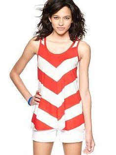 Gap chevron print tank  $22.95    Size:  XSSMLXLXXL    select qty   red stripe  $22.95