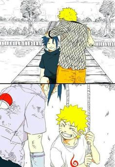 Naruto and Sasuke with the childhood versions of themselves, the two of them were lonely.