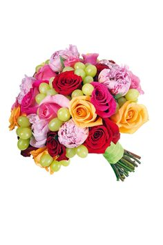Fruity Floral Bridal Bouquet: O'Hara, Intenz, Houdini and Topaz roses, and grapes by Hayford and Rhodes