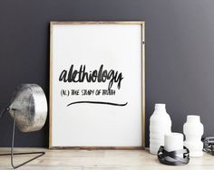 Alethielogy - definition art, poster print, wall art, printable quotes by GiveMeMeaning on Etsy
