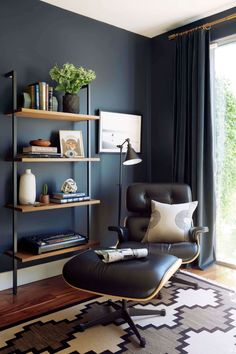 Wondrous Blue Gray Home Office If You Need Me Dark Gray Home Office Matt Gray Home Office. Gray Home Office. Grey Paint Home Office. Dark Gray Home Office. Gray Home Office Furniture. Mid Century House, Home Office Decor, Office Interior Design, Furniture, Interior, Dark Interiors, Modern Home Office, Home Decor, House Interior