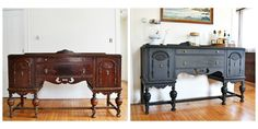 Buffet using Graphite Chalk Paint® and Annie Sloan Soft Dark Wax | Project by Angie's Roost