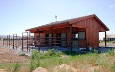 Three stall horse barn with individual runs