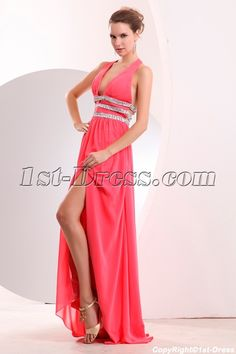 1st-dress.com Offers High Quality Coral Plunge V-neckline Halter Chiffon Sexy Evening Dress with Slit,Priced At Only US$159.00 (Free Shipping)