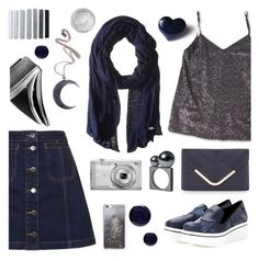 """Silver and Dark Blue"" by deepwinter ❤ liked on Polyvore featuring Topshop, Cole Haan, STELLA McCARTNEY, Accessorize, Nikon, Lauren B. Beauty, Kill Star, Skinnydip and Silver Lining"