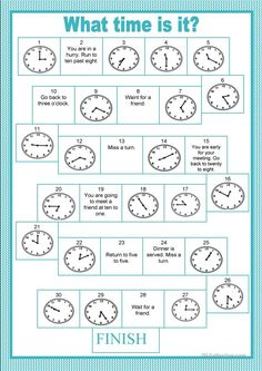 Board game - time - English ESL Worksheets for distance learning and physical classrooms English Games, English Activities, Teaching Activities, Articulation Activities, Therapy Activities, German Language Learning, Teaching English, Learn German, Learn English